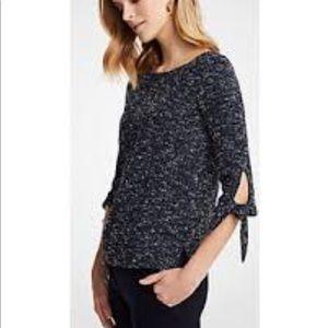 Ann Taylor tie sleeves Tweed knit top